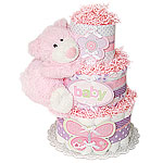 Flower Butterfly Bear Diaper Cake