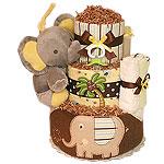Grey Musical Elephant Bath Diaper Cake