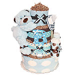 Big Blue and Brown Bear Diaper Cake