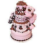 Pink and Brown Big Bear Diaper Cake