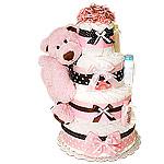Big Modern Pink Bear Diaper Cake