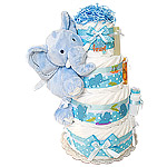 Huge Heart Jungle Elephant Diaper Cake