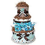"Chocolate Blue Diaper Cake ""BABY"""