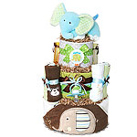 Green and Brown Bath Jungle Giraffe and Elephant Diaper Cake