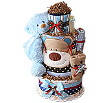 Blue Red Brown Bear Diaper Cake