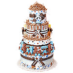 Blue and Brown Letters Train Diaper Cake