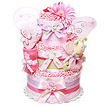 Custom Flowers and Butterfly Diaper Cake