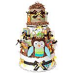 Custom Forest Owl Diaper Cake