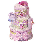 Custom Purple and Pink Butterfly Diaper Cake
