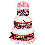 Rock Star Decoration Diaper Cake for a Girl
