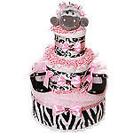 Pink Baby Zebra Diaper Cake