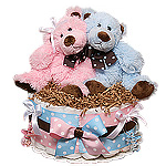 Twins Boy and Girl Bears Diaper Cake
