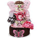 Pink and Brown Butterfly Diaper Cake