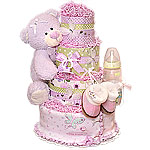 Green and Lavender Butterfly Bear Diaper Cake