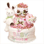 White Bunny Baby Girl Diaper Cake