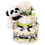 Green Panda Bear Diaper Cake