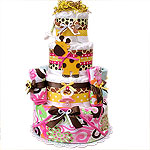 Hot Pink Jungle Giraffe Diaper Cake