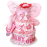Hot Pink Magic Butterfly Diaper Cake