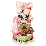 Pink Jungle Elephant Diaper Cake