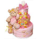 Pink Blanket Bear Diaper Cake
