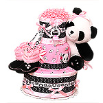 Pink Panda Bear Diaper Cake