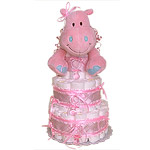 Pink Hippo Diaper Cake