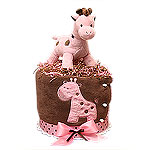 Modern Pink and Brown Musical Giraffe Diaper Cake
