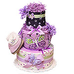 Purple and Green Butterfly Diaper Cake