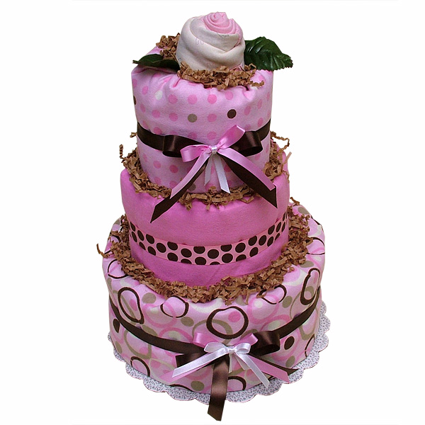 Pink Chocolate Rose Diaper Cake