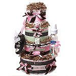 "Simple ""G"" Four Tiers Diaper Cake"
