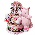 Sweet Baby Girl Musical Elephant Diaper Cake