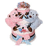 Boy and Girl Bears Twins Diaper Cake