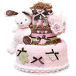 White and Brown Bunny Diaper Cake