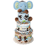 Jungle Musical Elephant Blue Diaper Cake
