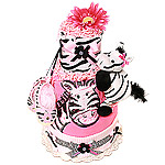 Flower Power Zebra Diaper Cake