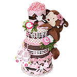 Jungle Flower Monkey Girl Diaper Cake