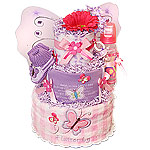 Purple and Hot Pink Butterfly Diaper Cake