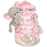 Pink and Gray Elephant Diaper Cake