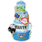 Green and Blue Rock Star Diaper Cake