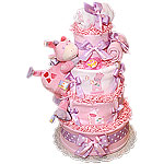 Jungle Pink and Lavender Giraffe Diaper Cake