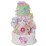 Lavender Pink and Green LadyBug Diaper Cake
