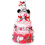 Hot Pink One of a Kind Zebra Diaper Cake