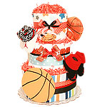 Orange Red and Black Basketball Diaper Cake