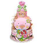Pink Pig Farm Diaper Cake