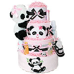 Pink Panda Bear Girl Diaper Cake