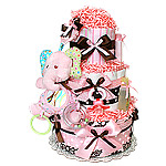 Pink and Brown Elephant Diaper Cake