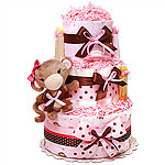 Pink Rattle Monkey Girl Diaper Cake