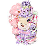 Green Pink Purple Bear Diaper Cake