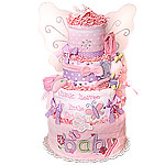 Purple Baby Girl Butterfly Diaper Cake