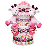 Twins Girls Giraffes Diaper Cake